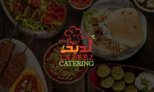 Lazeez Catering Logo with Food Background Image